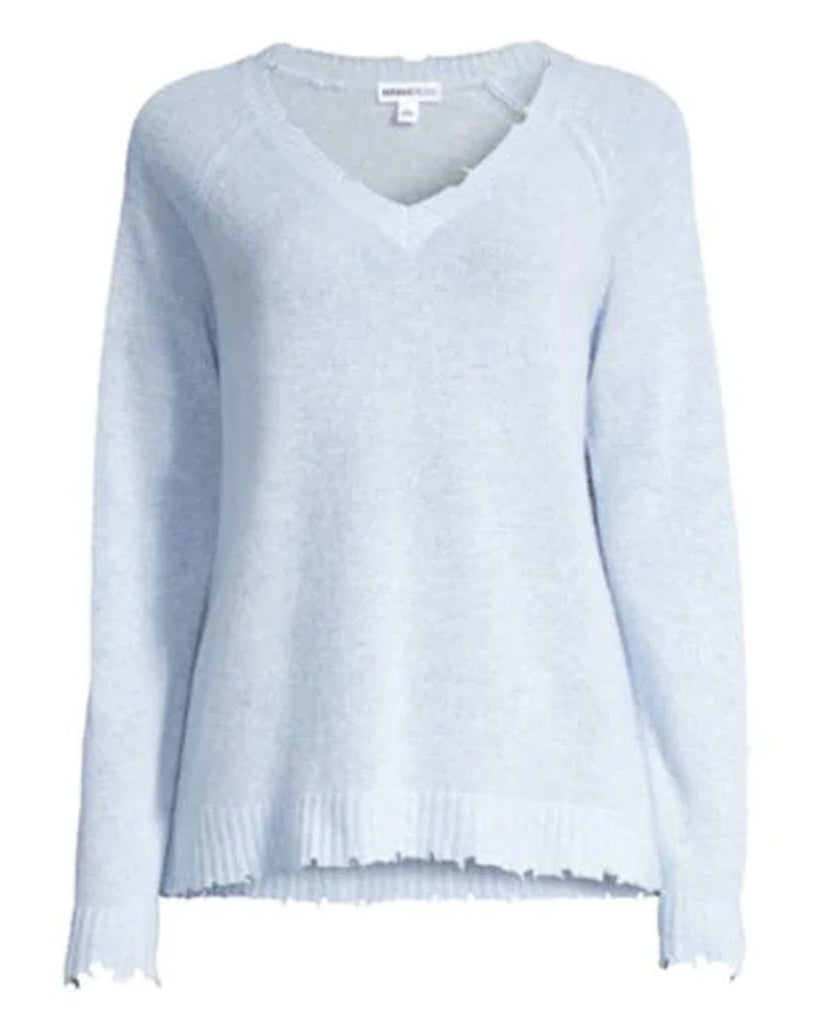 Minnie Rose - Minnie Rose Cashmere Distressed Long Sleeve V-Neck - Buy Online