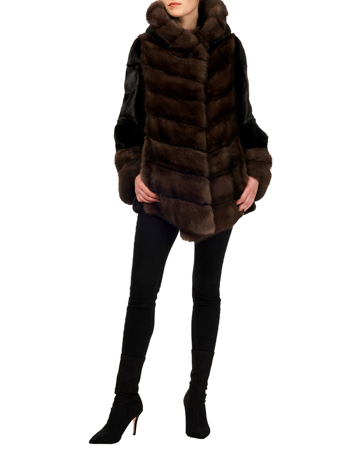 Steven Dann Sable & Mink Chevron Jacket