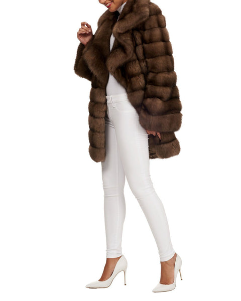 Steven Dann - Steven Dann Ruffle Collar Horizontal Quilted Sable Coat - Buy Online
