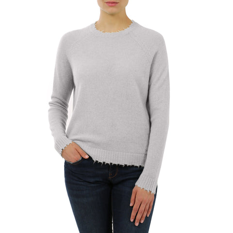 Minnie Rose - Minnie Rose Cashmere Distressed Crewneck Pullover - Buy Online