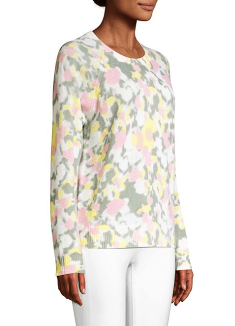 Minnie Rose - Minnie Rose Cashmere Printed Long Sleeve Crewneck - Buy Online
