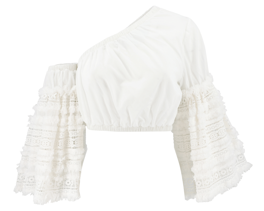 Chio - Chio One-Shoulder Macrame Fringed Top - Buy Online