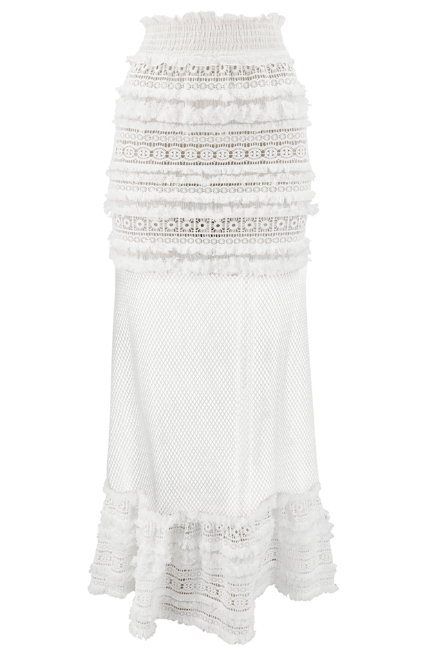 Chio - Chio Long Macrame Fringed Skirt With Mesh - Buy Online