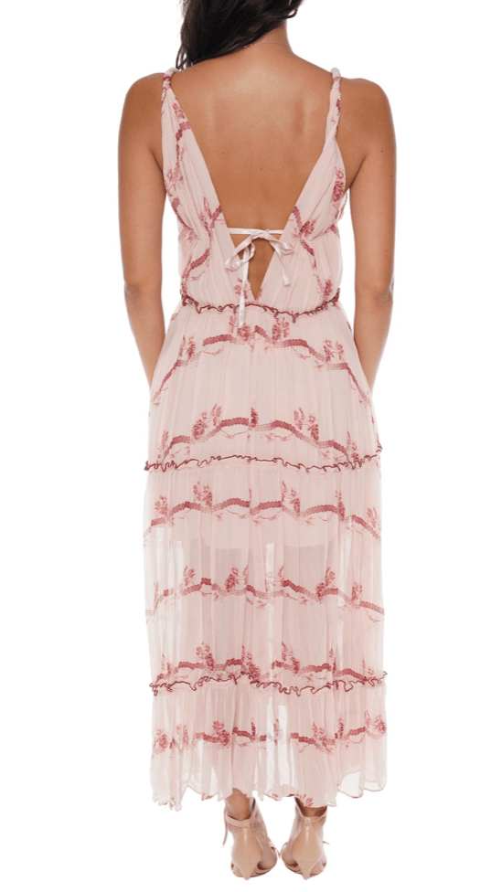 Jonathan Simkhai Rose Silk Midi Dress