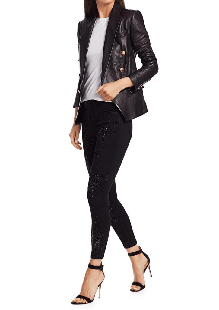 L'Agence - L'Agence Kenzie Double Breasted Leather Blazer - Buy Online