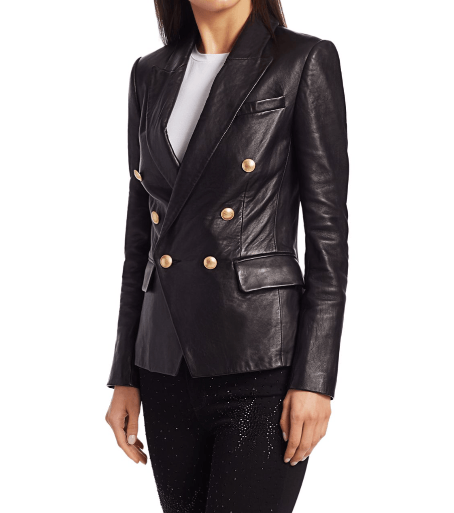 L'Agence Kenzie Double Breasted Leather Blazer