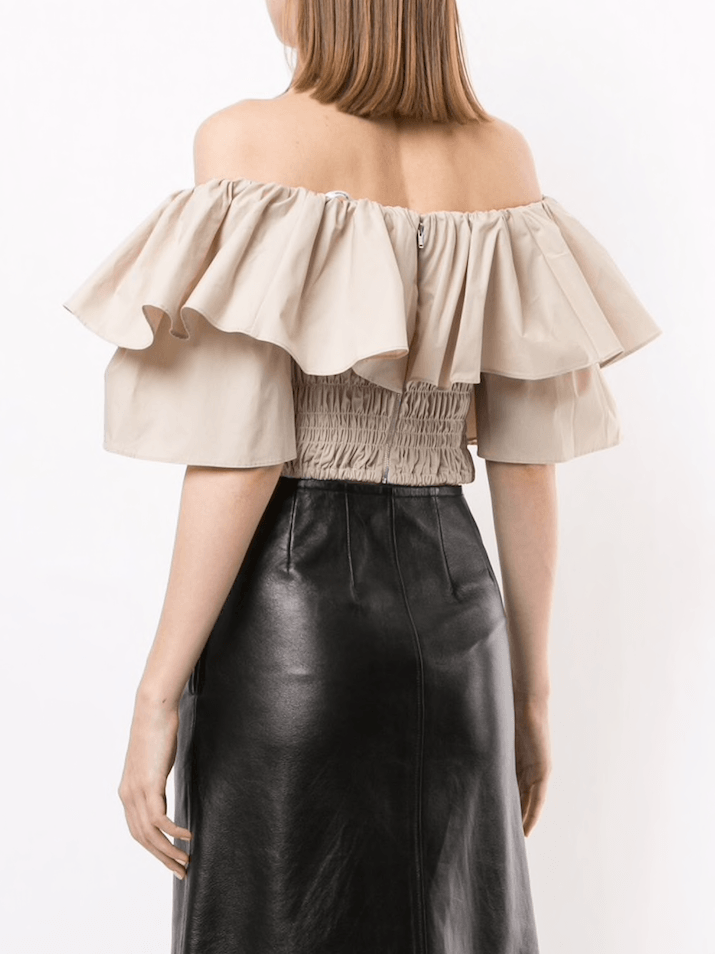 Self Portrait Ruffle Off Shoulder Cotton Poplin Top
