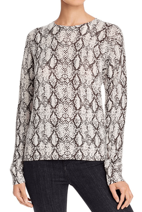 Minnie Rose Snakeskin-Print Cashmere Sweater