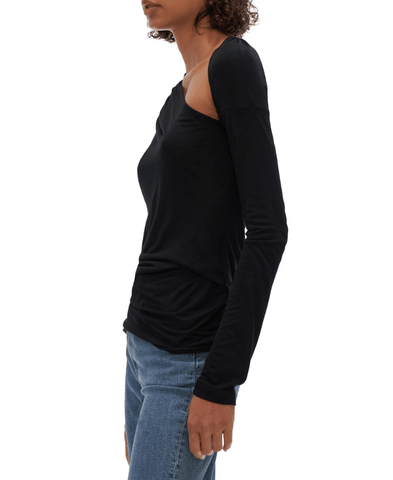 Helmut Lang Asymmetrical Long-Sleeve Jersey Top