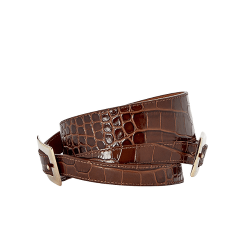 Veronica Beard Davina Crocodile-Embossed Belt
