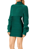 Herve Leger Chunky Turtleneck Mini Dress
