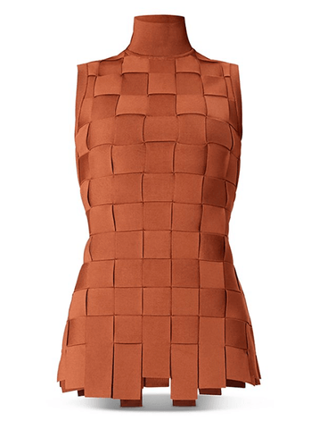 Herve Leger Mock Neck Basket Weave Top