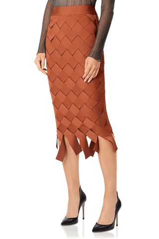 Herve Leger Basket Weave Pencil Skirt