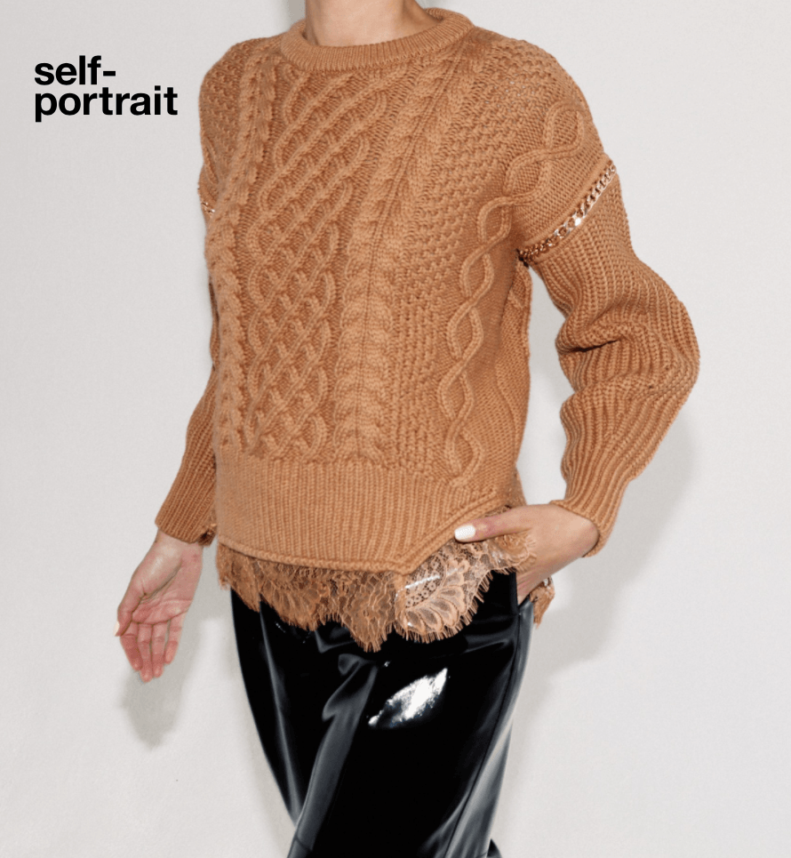Self Portrait Cable Knit Chain Sweater