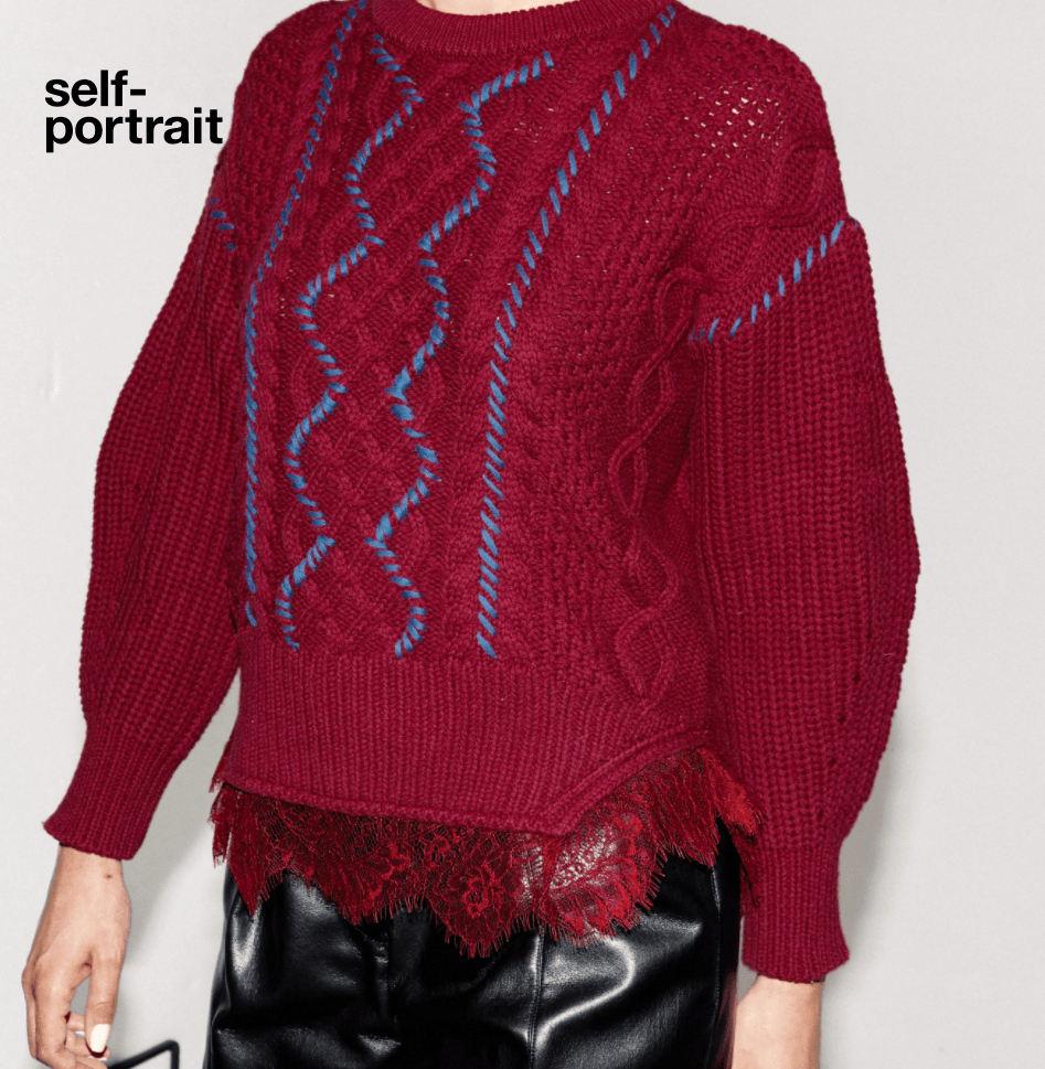 Self Portrait Berry Cable Knit Sweater