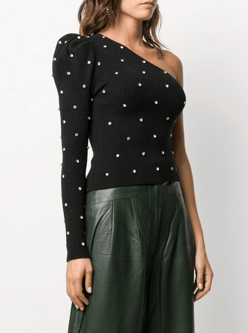 Self Portrait Knit Diamante One Shoulder Top