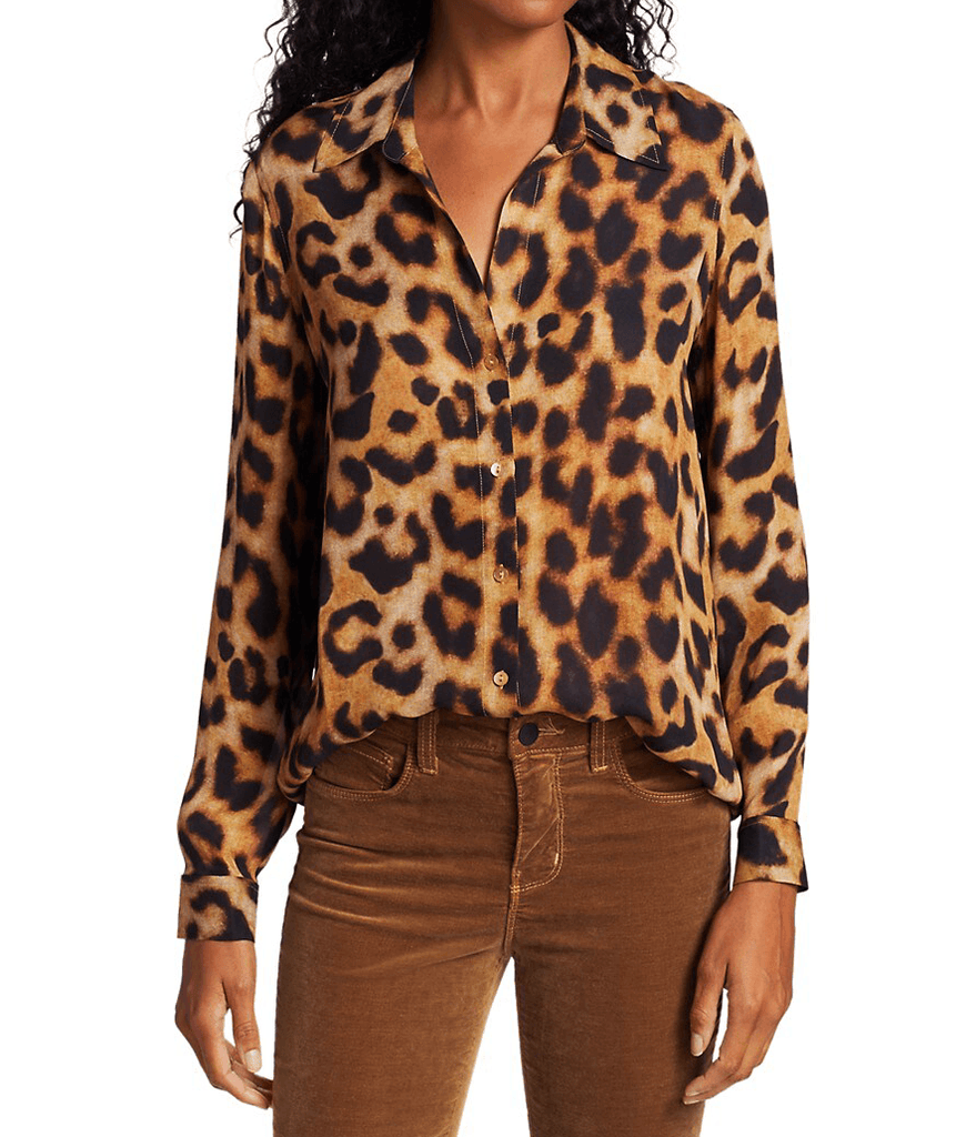 L'Agence Nina Silk Long-Sleeve Blouse
