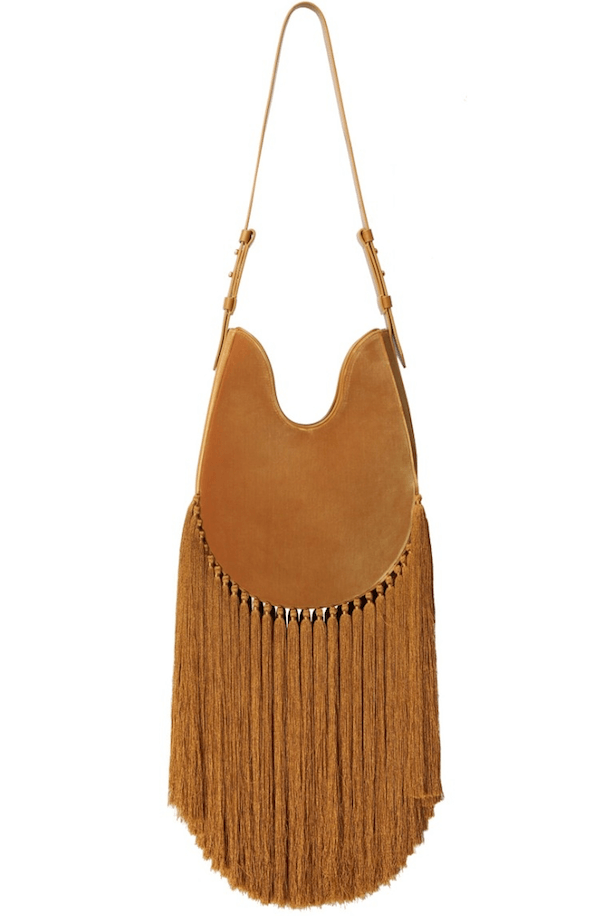 Zimmermann Large Velvet Fringe Hobo Bag