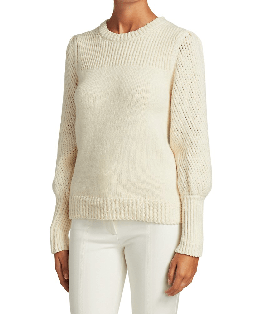 Derek Lam 10 Crosby Ella Mixed Stitch Puff-Sleeve Sweater