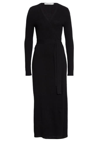 Diane Von Furstenberg Astrid Long Sleeve Wool & Cashmere Wrap Dress