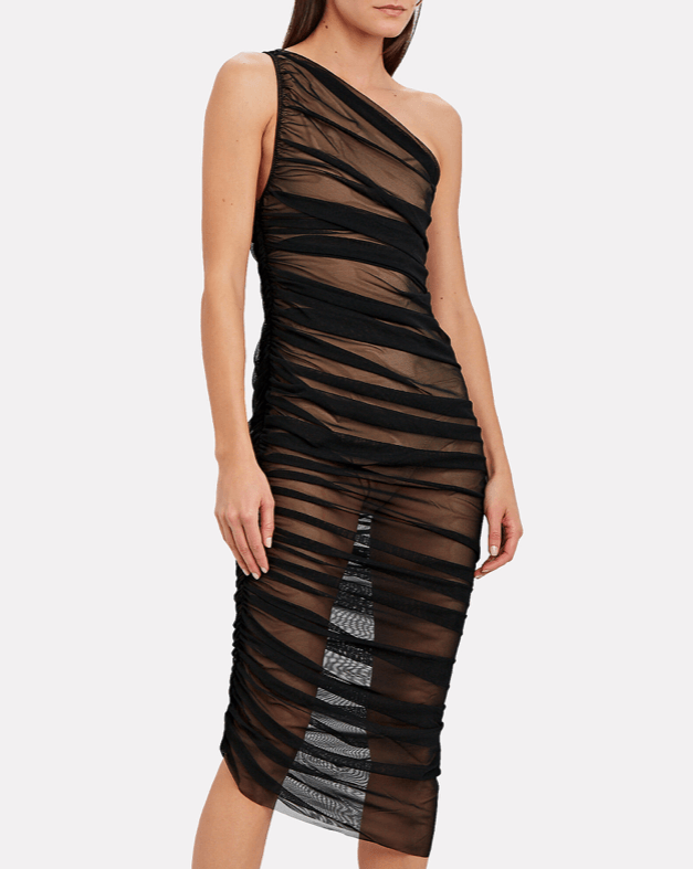 Norma Kamali Diana Ruched Mesh One-Shoulder Dress