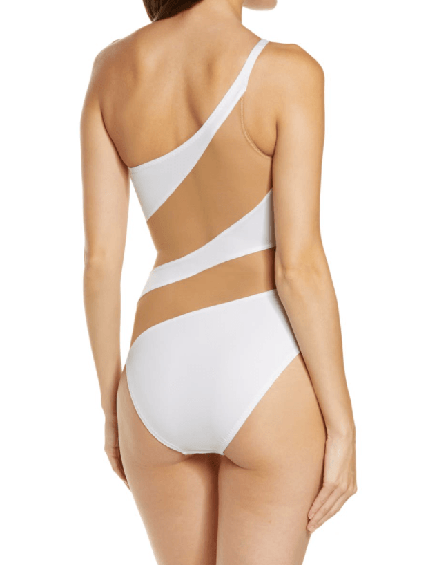 Norma Kamali Snake Mesh Mio One-Shoulder Swimsuit