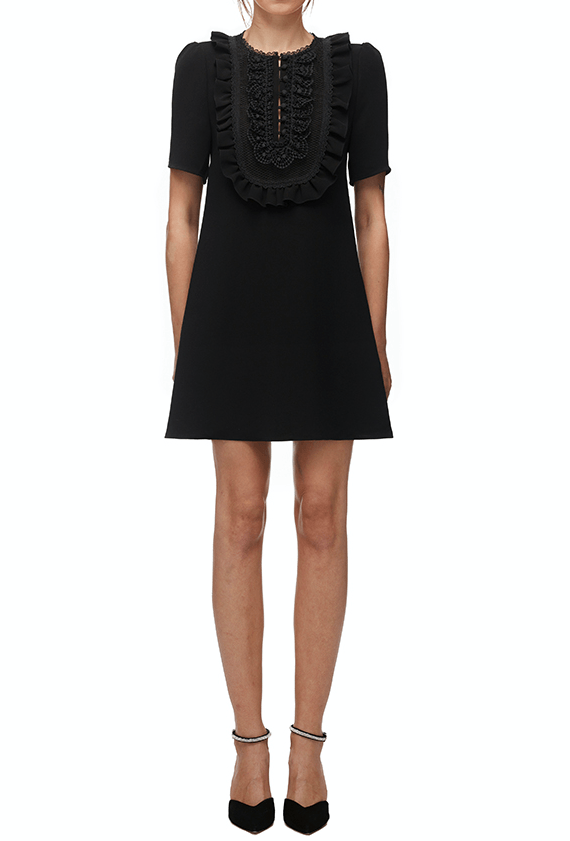 Self Portrait Lace-Bib Crepe Mini Dress