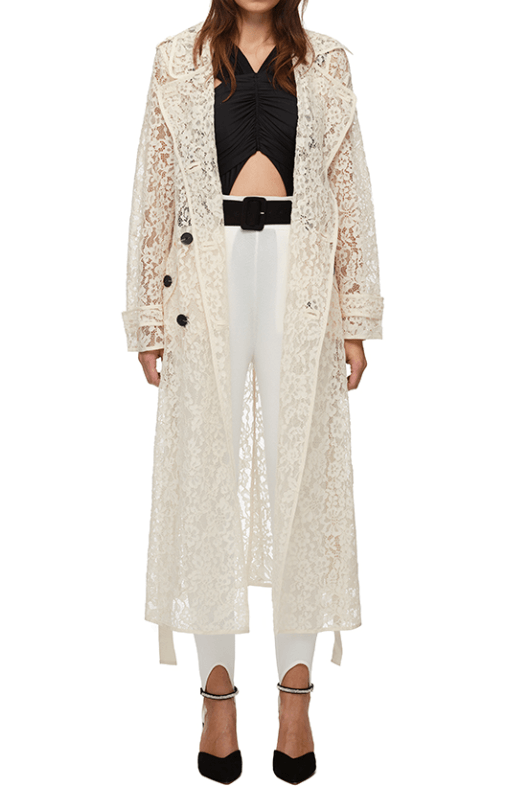 Self Portrait Cord Lace Trench Coat