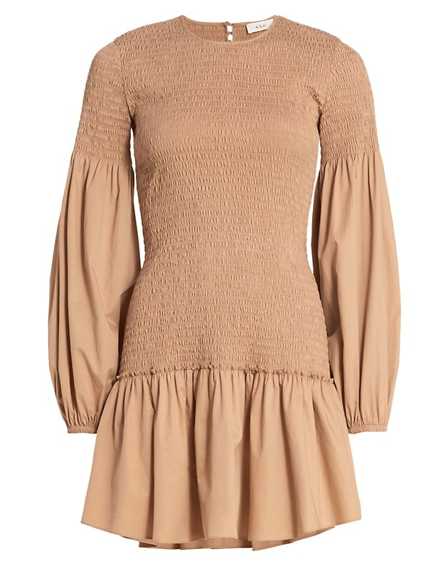 A.L.C. Kora Smocked Puff-Sleeve Dress