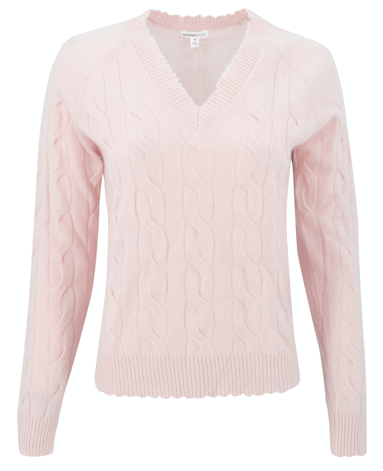 Minnie Rose Cashmere Cable Knit Sweater