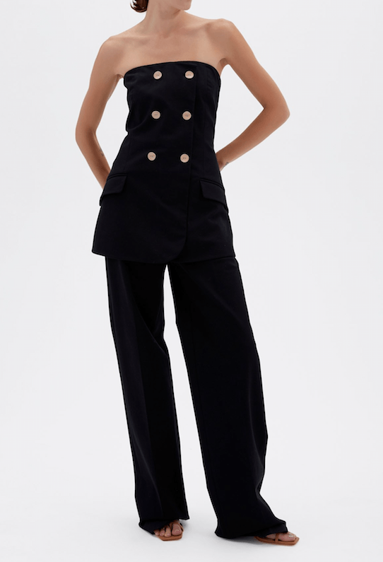 Jonathan Simkhai Essie Cotton Twill Strapless Double Breasted Jumpsuit