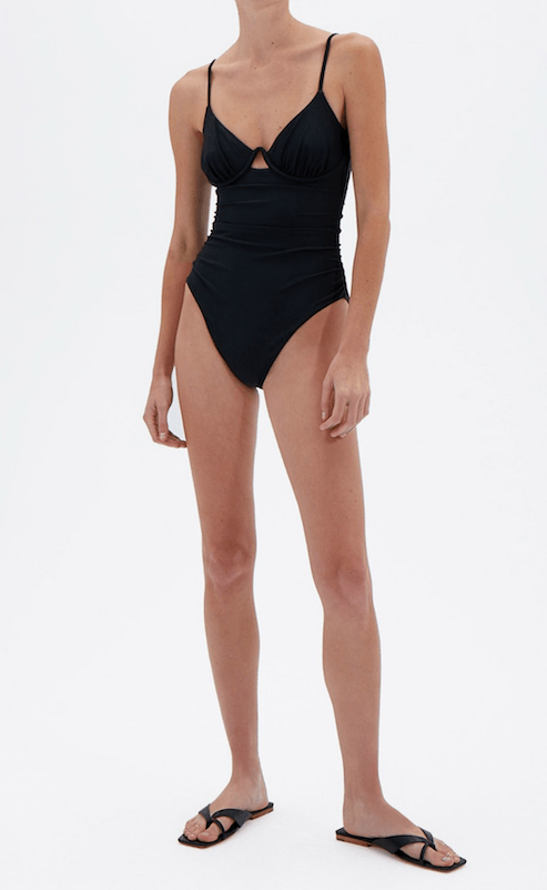 Jonathan Simkhai Laine Ruched Cup Underwire One-Piece Swimsuit