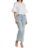 Veronica Beard Rickie Tier Ruffle Peasant Top