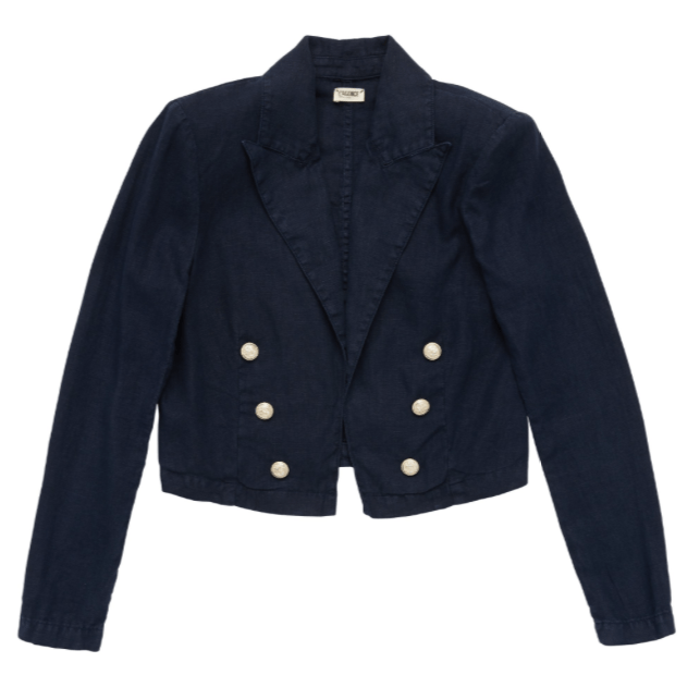 L'Agence Dolly Linen Cropped Blazer