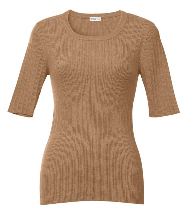 Minnie Rose - Minnie Rose Elbow-Sleeve Rib-Knit Sweater - Buy Online