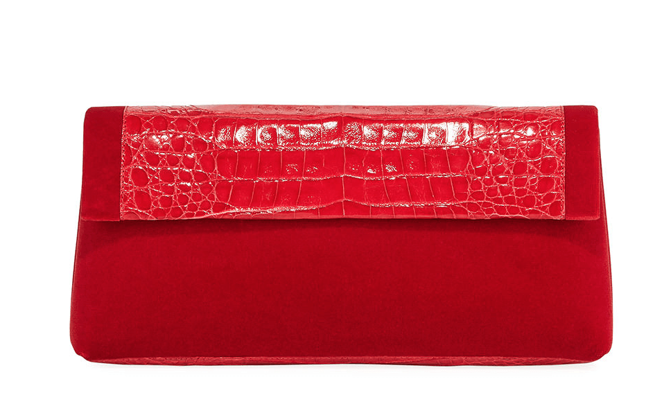 Nancy Gonzalez - Nancy Gonzalez Crocodile & Velvet Clutch Bag - Buy Online