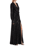 Jonathan Simkhai Sequin Embellished Draped Slit Gown