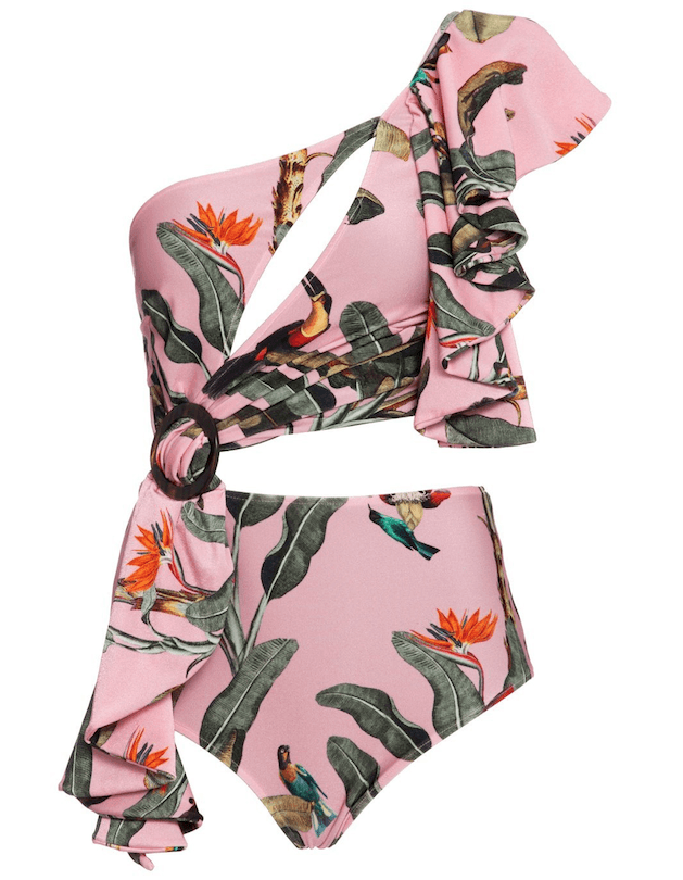 PatBO - PatBo Tropical Print One Shoulder Swimsuit - Buy Online