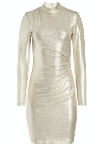 Alice + Olivia - Alice + Olivia Hilary Ruched Metallic Mini Dress - Buy Online