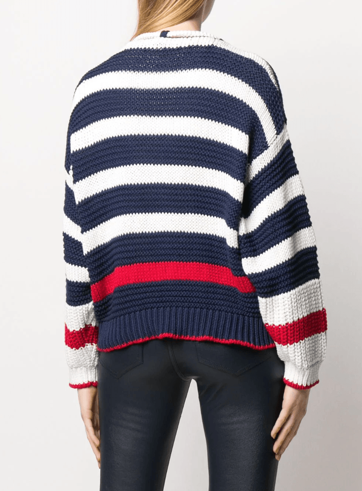 Alberta Ferretti - Alberta Ferretti Striped V-Neck Sweater - Buy Online