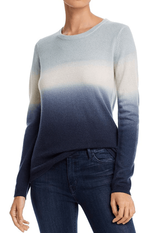 Minnie Rose - Minnie Rose Crewneck Dip-Dyed Cashmere Sweater - Buy Online