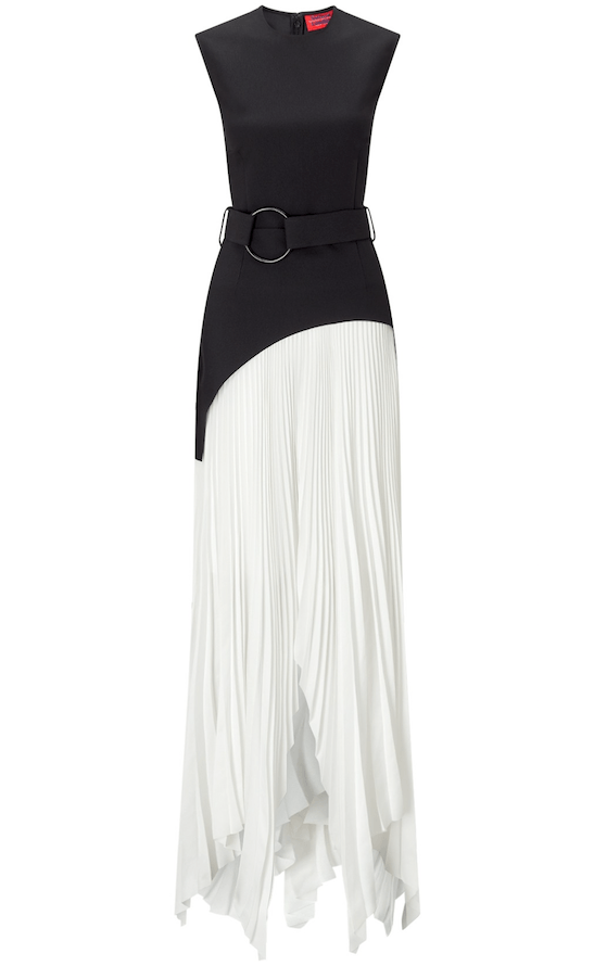 Solace London - Solace London Anya Belted Sleeveless Asymmetric Pleated Maxi Dress - Buy Online