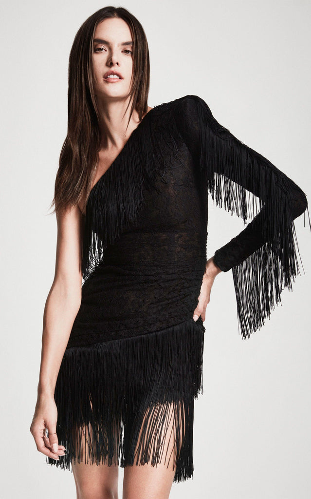 Dundas - Dundas One-Shoulder Fringed Lace Mini Dress - Buy Online