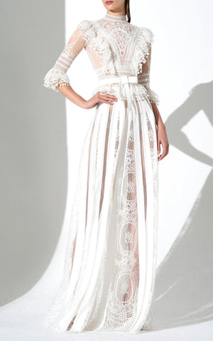 Zuhair Murad Ojo Lace Insert Floor Length Skirt
