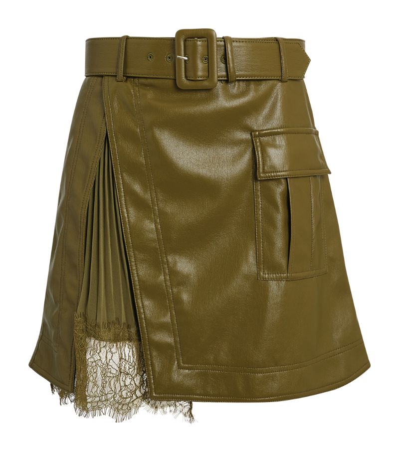 Self Portrait Faux Leather Mini Skirt