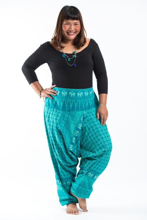 Plus Size Unisex Thai Harem Pant- Elephants