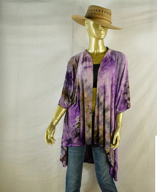 Kimono Hand Dyed Purples- Small/Medium