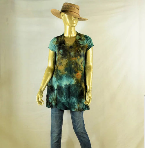 V-neck T-shirt Dress/ Tunic Teal/Browns- Small