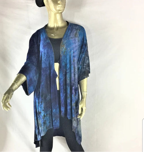 Kimono Hand Dyed Blue/Perwinkle- Small/Medium