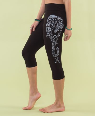 Organic Cotton Yoga Capri pant -Black Elephant Small